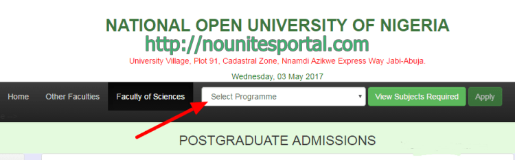 select-Noun-Programme-of-study-on-admission-process