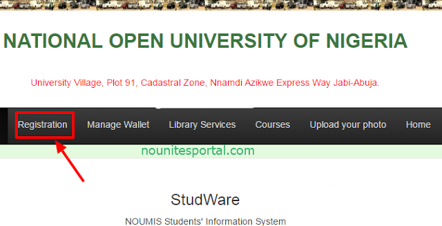 At the nouonline portal menu click on registration