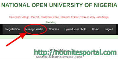 Click on Manage Wallet to generate remita retrieval reference number