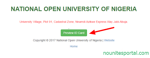 Click on Preview ID Card National Open University of Nigeria
