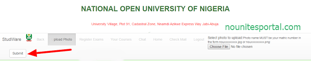 Click submit to upload your student id card National Open University of Nigeria (1)