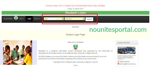 Enter your student matric no and password to login into the Noun portal