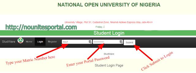 Noun Portal Student Login Page nounitesportal.com