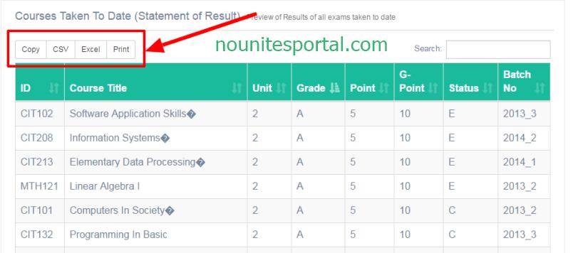Noun results printing options
