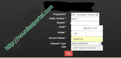 Noun wallet Account funding form to generate a rrr code
