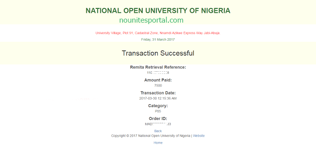 Successful message to Resolving issues about Noun fee payments not reflecting on the student portal