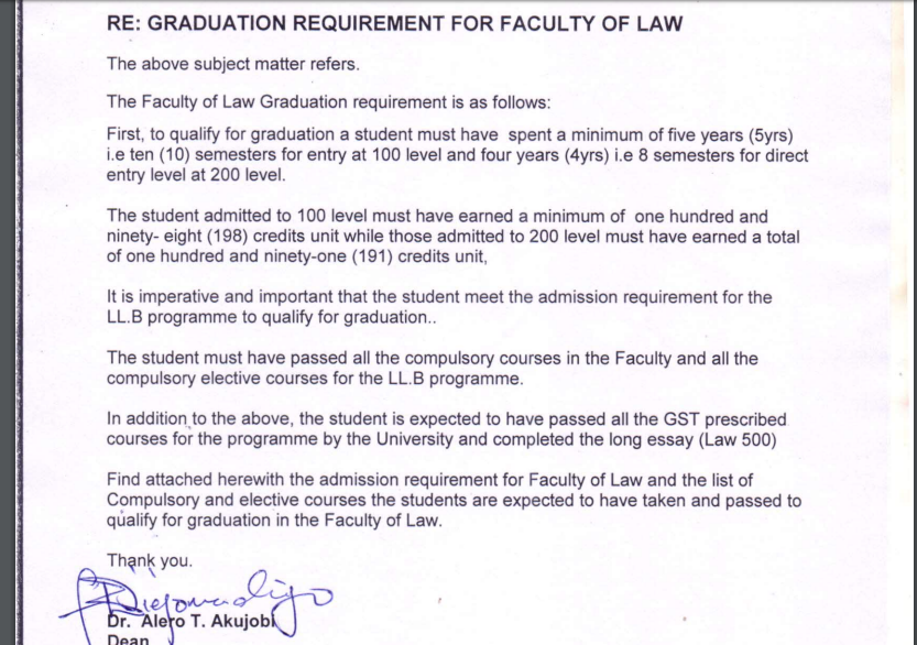 Graduation Requirement for Faculty of Law