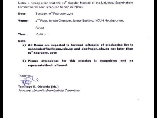 NOUN senate meeting 540x405 - Announcement To All Students
