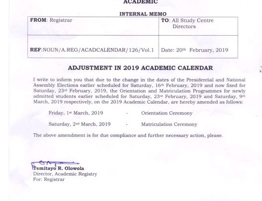 adjustment in academic calendar